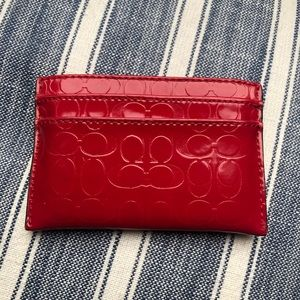 Coach red patent leather card case EUC